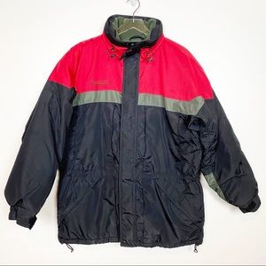Columbia Winter Ski Coat Red Black Fleece Lined